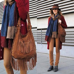 Ryfka (Szafa Sztywniary) - Accessorize Fedora Hat, Joanna Horodyńska For Gatta Patchwork Scarf, Brave Soul Cardigan, Clarks Fringed Bag, J Brand Pants, Bronx Boots - Like an orphan in Salvation Army clothes