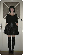 Fuchsia Gibson - Vox Over Knee Boots, H&M Top, Pierre Michel/Hollies (Cut) Nappa Skirt - Last night