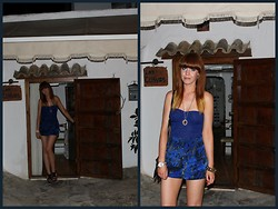 Amanda Blackwood - Sparkley Strapless Top, Pop Boutique, London Vintage Blue + Gold Pendant, Urban Outfitters Abstract Print Silky Shorts, Primark Navy Velvet Heels - Spain Night 3 - Las Cuevas