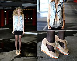 Margarita Lemeshko - Topshop Jeans Vest, H&M Wedges, Combination - Parking Meter
