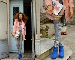 Georgiana Boboc - Mango Necklace, Taschen Diary, H&M Blouse, Vero Moda Boyfriend Blazer, Asos Crystal Embellished Jean, Boohoo Ankle Boots, Asos Oversized Clutch - Attitude says a lot, style says it all:)