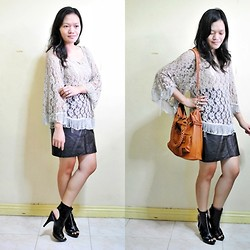 Chantal Jane - Lace Fringe Sweater, Leather Skirt, Tan Two Way Satchel, Prp Cut Out Booties - Leather & Lace