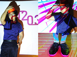 Reyner Cadapan - Straw Hat, Thrift Store Bronze Glasses, Polo Striped Blue, Armando Caruso Red Bow Tie, Camper Black Shoes - LIGHTS