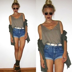 Lina S.D. - His Green Label Second Hand Shorts, Boyfriends Military Shirt Diy - MILITARY GREEN