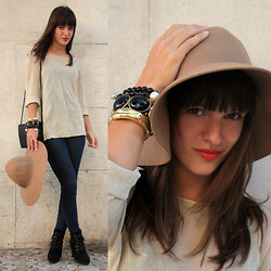 Mariana Soares Branco - Mango Ankle Boots, Vintage Sheer Shirt, Vintage Bag, H&M Hat - Some (new) bangs.