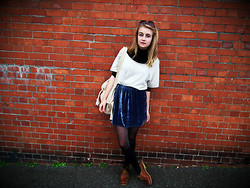 Ava S - Beyond Retro New Rucksack, Vontage Black Turtle Neck, Gran Made It :) Cream Top, I Made It :O Velvet Skirt, Primark Tights, Black Socks, Mums Old Boating Shoes - Layers
