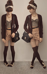 Lyamm Etches - Thrift Shop Vintage Cardigan, Diy Tube Top, Diy Floral Lace Headband, Thrift Shop Black Purse, Thrift Shop/Diy Lace Skirt, Aldo Oxford Heels - My new pep pep