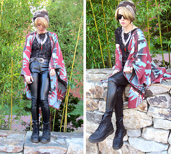 Kat W. - Newbury Comics Wayfarers, Vintage Leather Belt, Staring At Stars Aztec Ruana, Thrifted Lace Top, Forever 21 Wet Look Pants, Faneuil Hall Market Head Scarf, Dr. Martens Black Docs, Forever 21 Spike Fringe Necklace - The Planet Gunsmoke