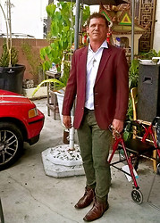 Rad Runner - Green Denim Pants, Brown Short Leather Boots, Italian Red Wine Colored Sportjacket, Satin Chambre Fitted Shirt, H&M Khmer Cat Incisor And Black Onyx Enlightened One Necklace, Long Brown Leather Belt, Gold Frame Sunnies & Watch - Angkor Phenom Penh