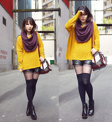 Ivy Xu - Tna Circle Scarf, H&M Sweater, Burberry Bag, Marc By Jacobs Shoes - Honey mustard