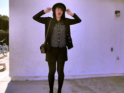 Renee Schmee - H&M Bowler Hat, Catworld Navy Cardigan, 2nd Hand Black And White Polka Dot Shirt, Found In Garage Black Shorts, Black Tights, Brown Satchel - Dot, Dot, Goose