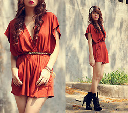 Anastasia Siantar - Love Rust V Neck Playsuit, Felicee Leopard Skinny Belt, Cuple Boots - LOVE playsuit