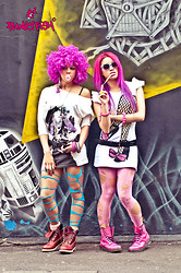 LoLo Page - Punkyfish Fish Net Legs With Black Shoe And Pink Bow, Dr. Martens Pink Dr, Punkyfish Purple Lady Face Design, Primark Blue Rip Tights, Primark Pink Rip Tights - East London Rock'N'Roll Look