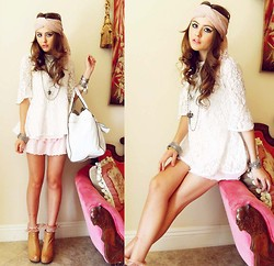 Bebe Zeva - Rose Headwrap, Modekungen White Lace Top, Scalloped Pink Skirt, Jeffrey Campbell Pixie Wedges - ACE OF LACE