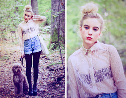 Rebecka Bjurmell - Weekday Lace Shirt, Vintage Denim Shorts, Tote Bag, Jeffrey Campbell Heels - I Want To Make You Happy