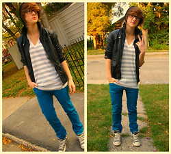 Lauren A (@LaurArmi) - Vero Moda Black Leather Jacket, American Apparel Striped V Neck, Levi's® Blue Skinnies, Converse Grey - SWAG like bieber?