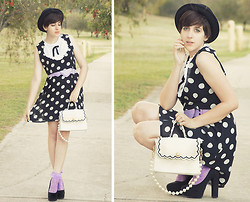 Kaylah Wanny - Dangerfield Bowler Hat, Black Friday Polka Dot Dress, Asian Icandy Store Handbag, Dangerfield Lilac Heart Shaped Belt, Dangerfield Lilac Lace Socks, Wanted Heels -  I'd encourage your smiles, I'll expect you won't cry