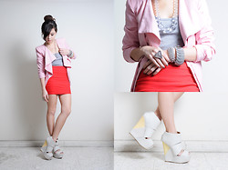 Kryz Uy - Romwe Pink Blazer, Sm Accessories, Wagw Tank, Club Couture Uk Bandange Skirt, Feet For A Queen Platforms - Wearing color