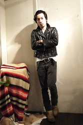 Leah K - Beck Vintage Leather Jacket, Remix Skinny Denim, Red Wing Engineer Boots - We eat and wear the Cowー俺達は牛を食い、そして着る。ー