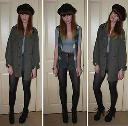 Amanda Blackwood - Topshop Sleeveless Plaid Shirt, Vintage Bowler Hat, Topshop Vintage, Customised Army Jacket, Topshop Grey Bodysuit, Levi's® Vintage Studded Levi's Shorts, Jeffrey Campbell Litas - Edinburgh Jaunt