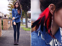 Anouska Proetta Brandon - Shutterbug Earcuff, Necklace, Vintage Denimin Shirt, American Apparel Disco Pants - Spiked Collar & Feather Cuff