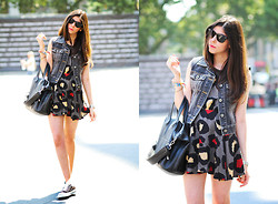 "Erika Marie - Guess? Denim Vest, Converse Sneakers, Ray Ban Sunglasses, Dress - Mercedes Benz NYFW Day 8 "" Converse and Spots """