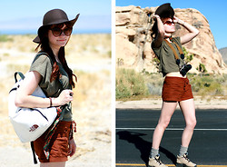 Kelly Lauren - The North Face Vintage Backpack, Forever 21 Brown Shorts, Thrift Store Hiking Boots, H&M Floppy Felt Hat, Urban Outfitters Crop Top - Hiker chic