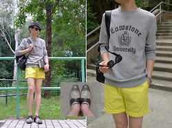 Edward Poon - Cobbler Oxford Shoes, H&M University Sweater, H&M Yellow Shorts, Mykita Sunglasses, Vintage Leather Bag Pack - THE HISTORIE OF THE WORLD.