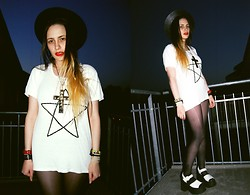 †Norelle Rheingold† - Vintage Black Hat, Diy Studded Cross Necklace, Just Female Pentacle Tee, American Apparel Tights, Platfrom Sandals - ZERO HOUR