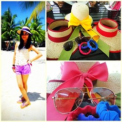 Krissel Angela Amaro - Kultura Purple Native Hat, Forme Ruffled Top, Purple Shorts, Ipanema Flip Flops, Aviator, Girlshoppe Colorful Bracelets - Missing Summer