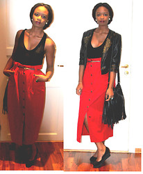 Sarah B. - Bikbok Jackets, Fretex Red Skirts, H&M Black Bag, Dinsko Shoes - A lady