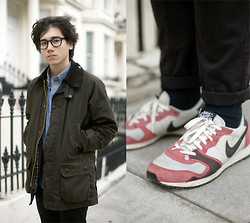 Pascal Grob - Moscot Lemtosh, American Apparel Chambray Shirt, Barbour Bedale Jacket, Topman Chinos, Nike Air Vengeance Vtg - 7014625401