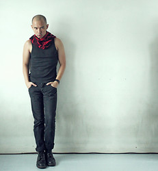 Chris Dela Cruz - Thrifted Red Scarf, Black Tank Top, Bench Balck Jeans, Black Leather Bracelet, Dr. Martens Army Boots - Red Neck