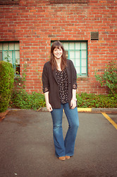 Kelly M. - Gap Chunky Cardigan, H&M Polka Dot Blouse, Gap Super Flare Jeans - Fall weather casual