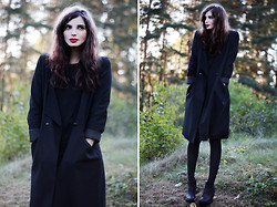 Annika M. - Monki Black Coat, Asos Grey And Black Over Knee Socks, Dark Brown Wedges - When the roof caved in and the truth came out.