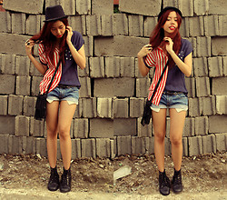 Gela Muñoz - Boracay Fedora, 168 American Flag Polo, Bazaar I Know You Can See My Pockets Shorts, Dainty Shop My Favorite Combat Boots - Red, White, and Blue, My Hats Off to You!