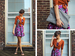 Josie Michelle - Walmart Dress, Old Navy Cardigan, Walmart Sandals, Fox&Vintage Oversized Clutch - In the Warmth