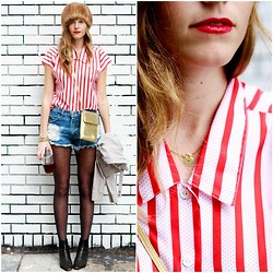 Steffy Degreff - Tea And Tulips Red Striped Blouse, Tea And Tulips Beige Zip Me Up Jacket - When red meets black.