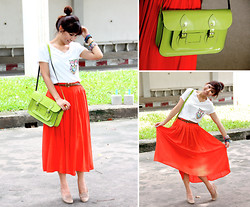 Pakornluck J. - Bangkok Design T Shirt, Forever 21 Maxi, Yves Saint Laurent Ring, The Leather Satchel Patent Lime Green Premium Bag, Jipi Japa Wedges, Diva Bracelet - After Lunch