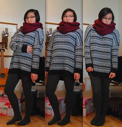 Maria B - Selected Infinite Scarf, Monki Knitted Sweater - Sunday Love