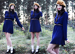 Annika M. - Monki Cobalt Blue Sheer Chiffon Dress, Asos Snakeskin Print Belt, Monki Mustard Beret, Lindex White Lace Socks, Steve Madden Black Suede Peep Toe Wedges - Cobalt and mustard.