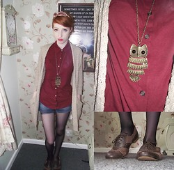 Charlotte Kinsella - Owl Necklace, Burgundy Shirt, Brown Brogues, Denim Shorts - Owl.