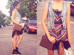 Gela Muñoz - Thrifted Denim Vest, Thrifted Fringed Skirt, Granny's Closet Chain Sling - Fringey Feeling