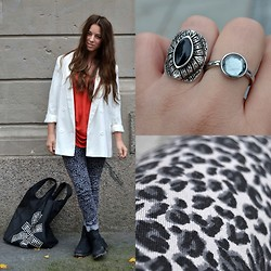 MELLi S - H&M Pants, Bikbok Jacket, H&M Top, Gina Tricot Bag, H&M Ring, ? Ring - : thinking will not overcome fear but action will