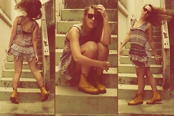 Nanah Greco - Dr. Martens Yellow Boots, Flower Dress, Ray Ban Wayfarer Glasses - Yellow