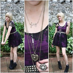 Michelle H - H&M Purple Dress, Primark Black Lace Dress - Why Ponder Life's Complexities..