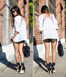 Aimee Song - Stylestalker Top, Anarchy Street Satin Shorts, Isabel Marant Gava Pumps - Lace Up