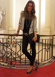 Gresy D. - Zara Sequined Jacket, Chanel Clutch, Zara Pants, Balmain Heels - Win a Pada bag on my blog :D