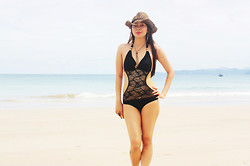 Lyka Lanuang - Itaewon St Black Swimsuit, Itaewon St Cowboy Hat, Forever 21 Accessories - It's Not Too Late For Summer