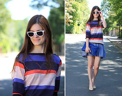 French Diary D - Le Mont Saint Michel Sweater, American Apparel Full Skirt - 2011 stripes